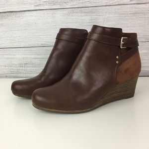 Wedge Booties Heeled Zip Buckle Memory Foam Cool